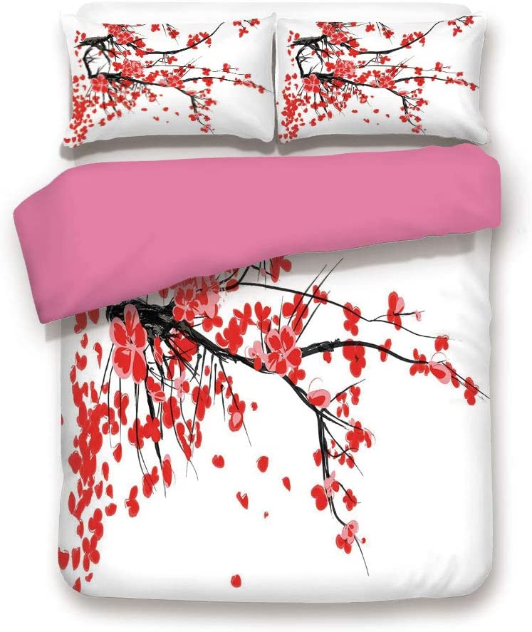 Queen Size Pink Back Duvet Cover Set,Japanese Cherry Blossom Sakura Blooms Branch Spring Inspirations Print Decorative 3 Piece Bed Sets,1 Comforter Cover with 2 Pillow Shams,Vermilion Brown White
