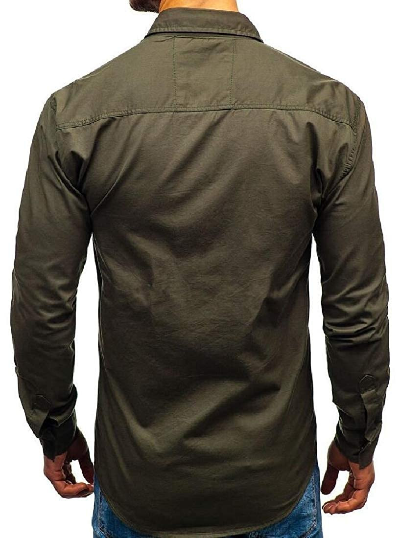 Jmwss QD Mens Classic Cargo Slim Fit Long Sleeve Button Down Shirt Top