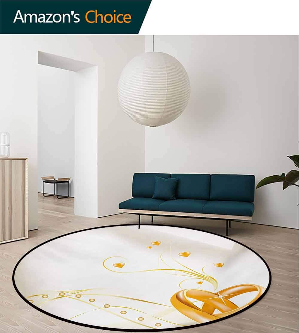 RUGSMAT Wedding Non-Slip Area Rug Pad Round,Wedding Rings Entangled in Shape of Heart 3D Style Romantic Design Art Print Protect Floors While Securing Rug Making Vacuuming,Round-63 Inch