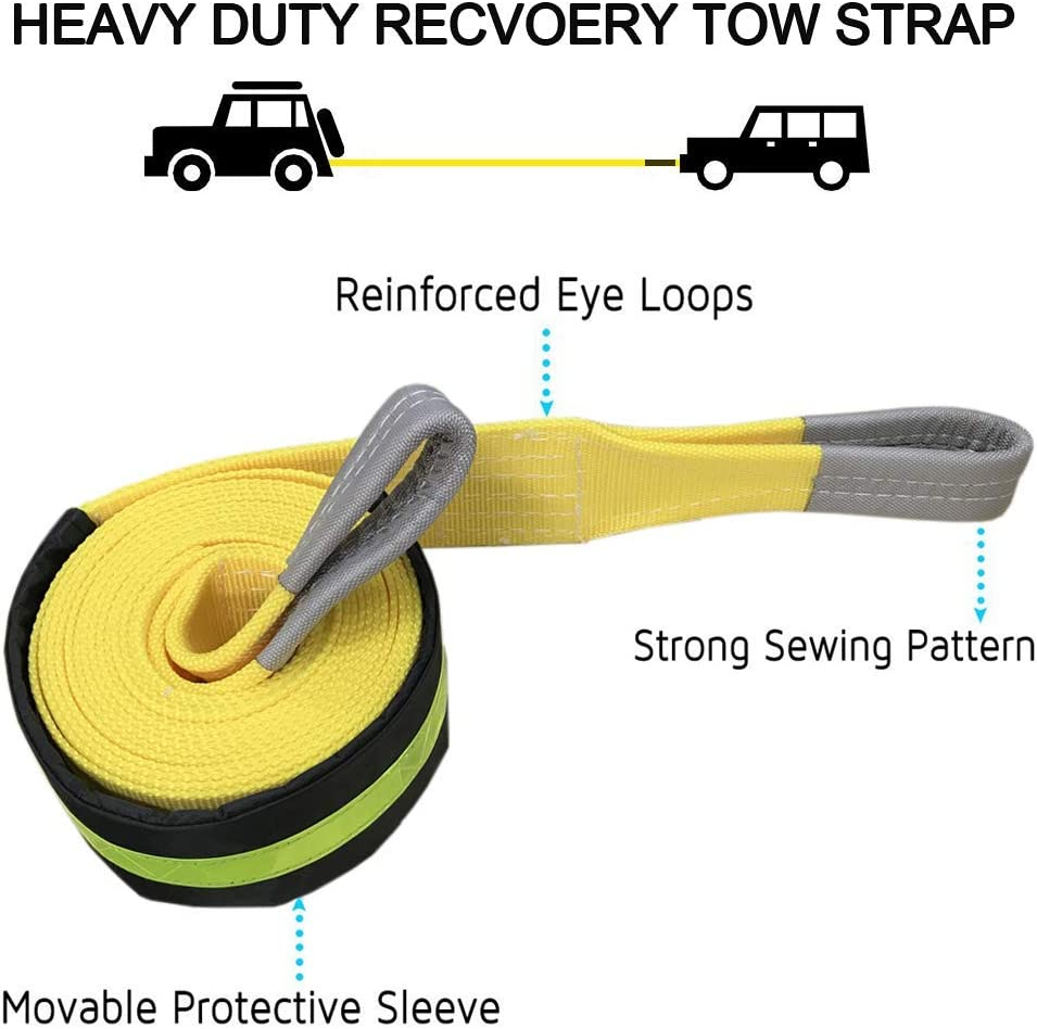 ATV and SUV Jeep Emergency Recovery Towing Rope with Movable Reflective Strip Ensure Safe Towing for Car,Truck 20,000lb Capacity Big Ant Tow Strap 3 x 20 ft