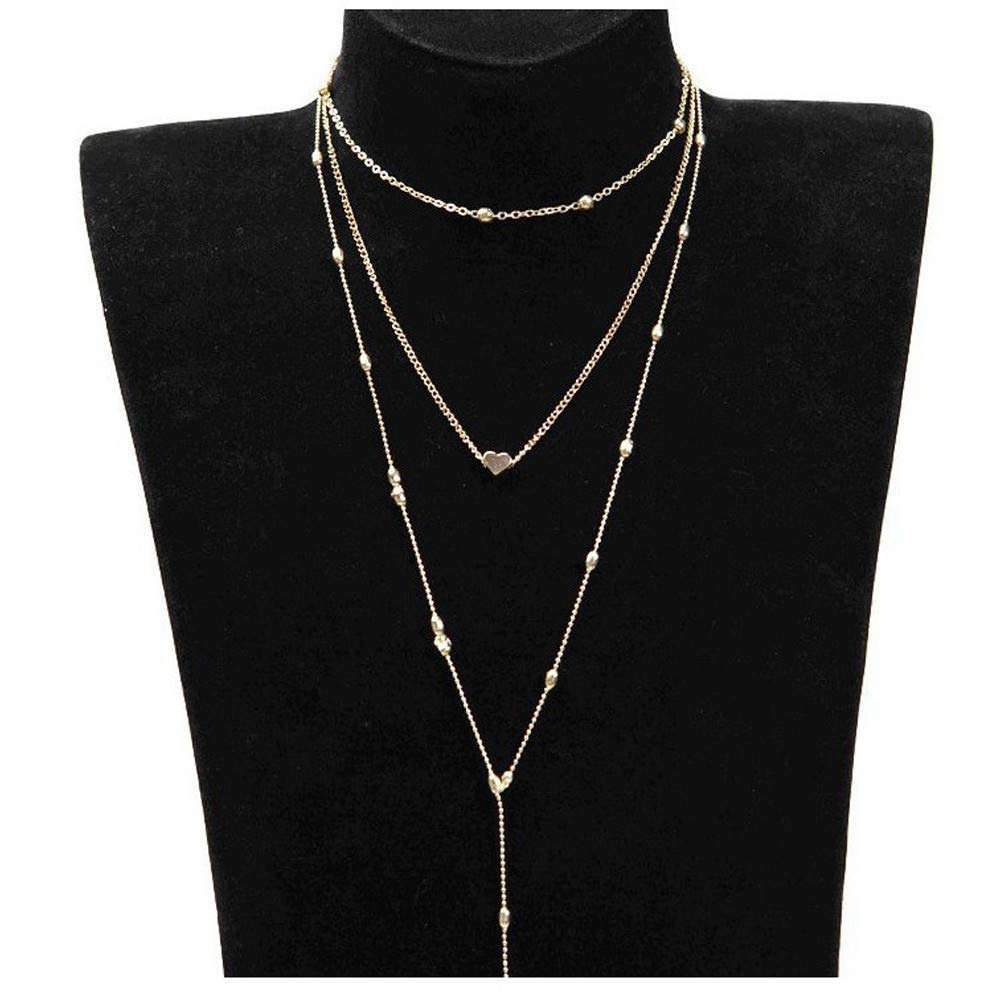 HUAMING Three Layers Heart Pendant Necklace Choker Chain Gold Necklace Dainty Necklace Fashion Jewelry (Gold)