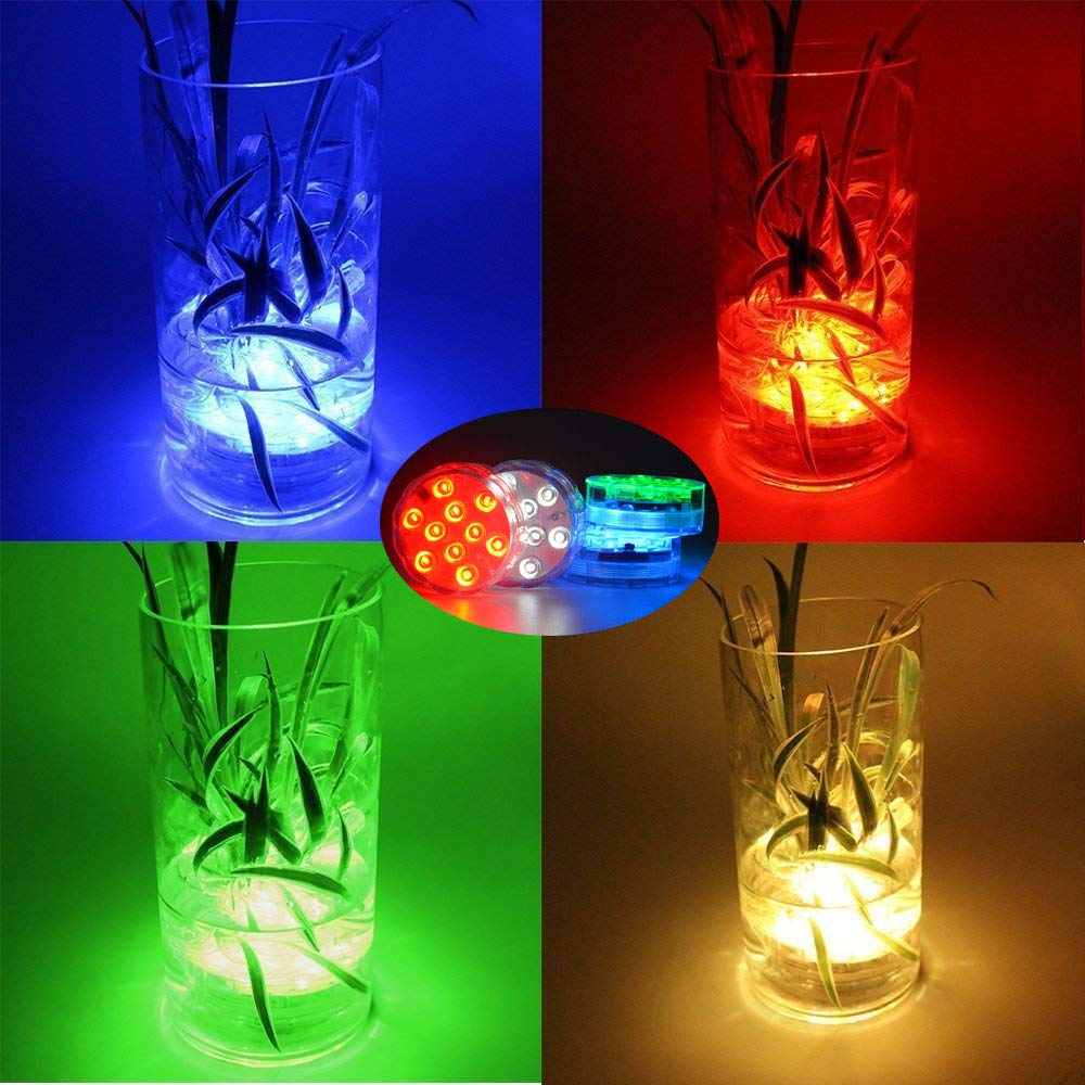 SEED Led Submersible Lights with IR Remote 2 Pack 10 RGB LEDs 16 Colors Changing Waterproof Underwater 2.8inch Lights Battery Powered with for Fish Tank Vase Base Hot Tub Aquarium Wedding Party
