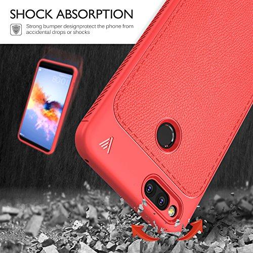 Funda Honor 7X, KuGi anti-rasca la Carcasa del teléfono TPU del cuero de la imitación ninguna Case del teléfono móvil caja del teléfono Cover para Honor 7X Smartphone,(Azul) Gris