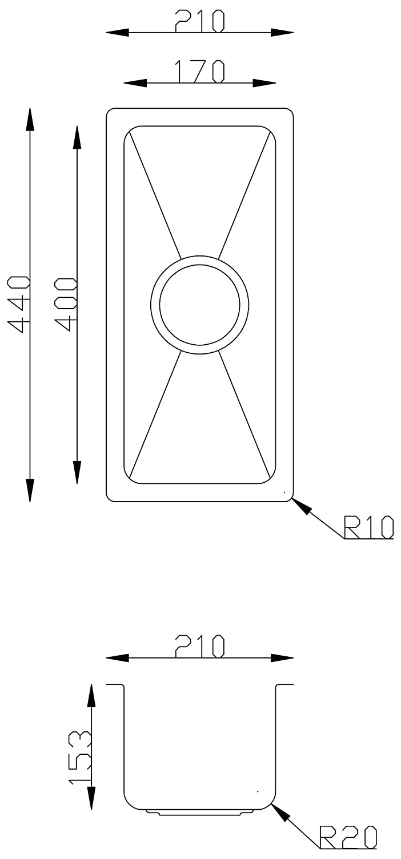 la015 XS piccola Radius eckiges lavello da cucina per il montaggio a incasso \ Incasso.