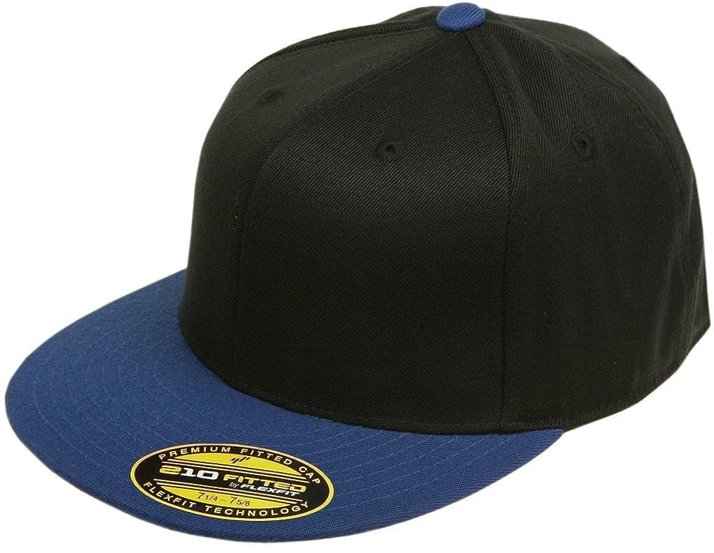 fb03cf17188be Amazon.com: Original Blank Flexfit Flatbill Premium Fitted 210 Hat Cap Flex  Fit Flat Bill Two Tone Small/Medium - Black/Royal: Clothing