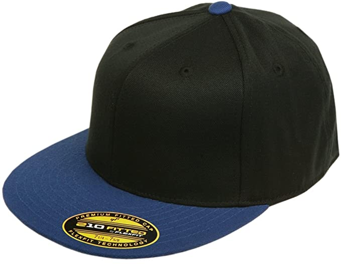 dd9448858 Original Blank Flexfit Flatbill Premium Fitted 210 Hat Cap Flex Fit Flat  Bill Two Tone Small/Medium - Black/Royal
