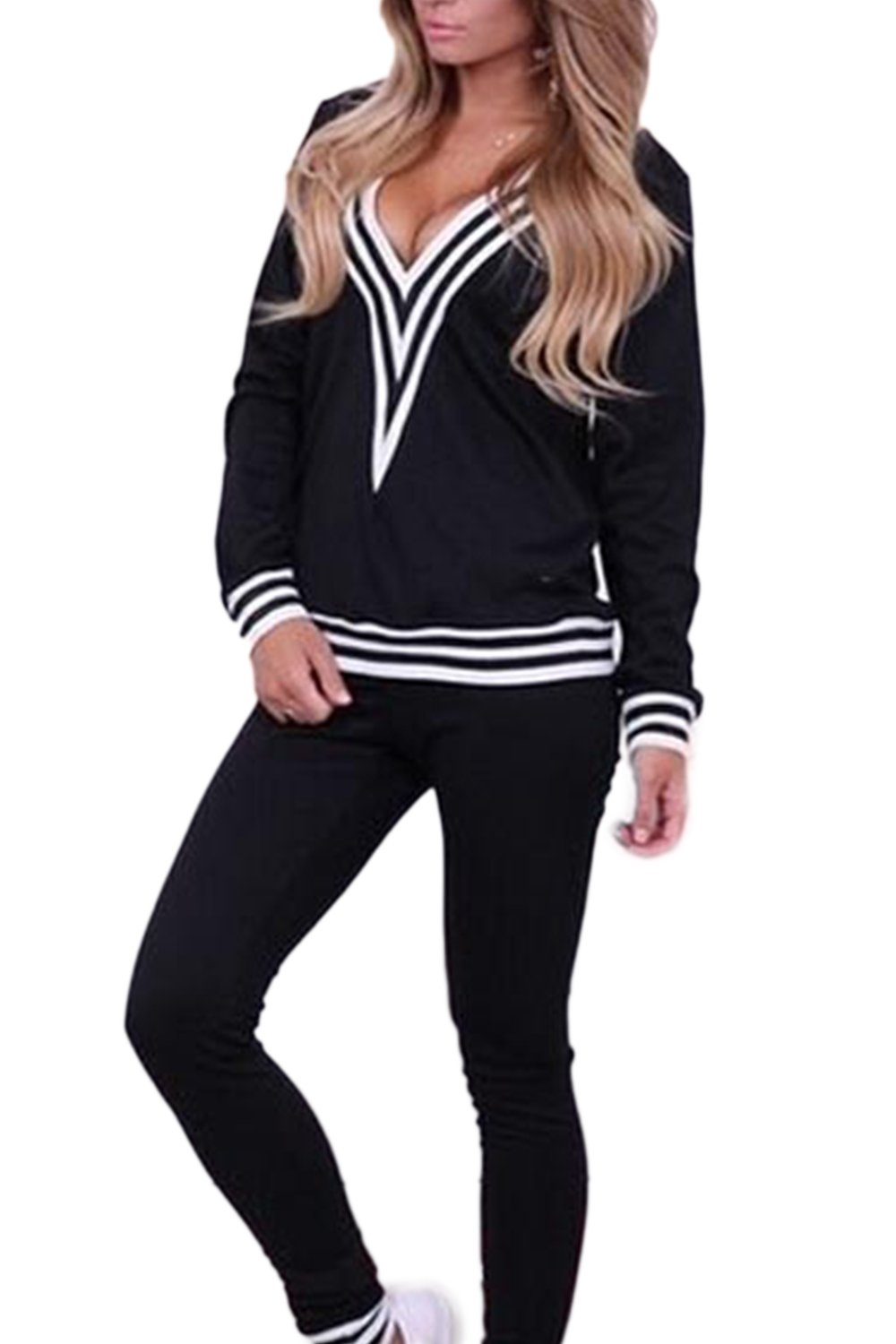 Women Casual Long Sleeve V Neck Stripes 2 Pieces Sweatshirt Long Pants Sports Suits CAFZ1063