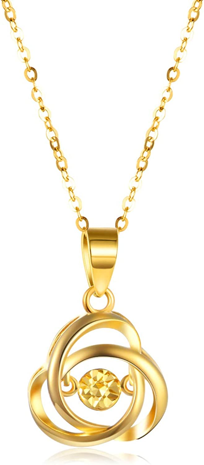 18k Yellow Gold Love Knot Pendant Necklace for Women, Real 18 Karat...