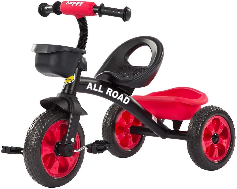 Linashop Todos los triciclos Carretera Childs Pedal Trike Negro/Rojo Asiento Ajustable Frontal y Posterior cestas de 2-5 años ** F12 Trike Rojo **