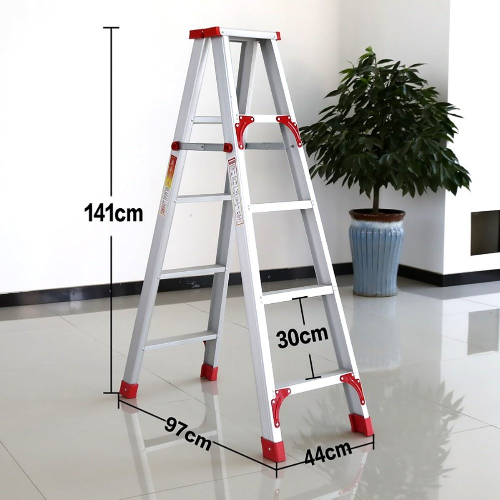 9744141cm WYGG-Home Decoration Aluminum Folding Ladder Household Items Folding Ladder Stool Adult Heavy Folding Ladder White Non-Slip Footstool qwq (Size   70  40  93cm)