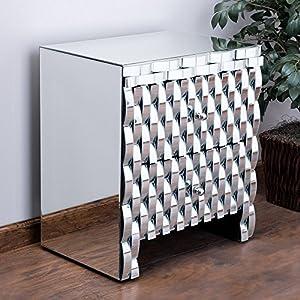 Amazon.com: Isadora Mirrored 2-drawer Nightstand Cabinet / Accent ...