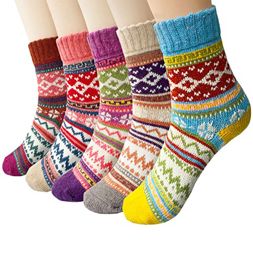 5-6 Pairs Womens Wool Socks Vintage Soft Cabin Warm Socks Thick Knit Cozy Winter Socks for Women Gifts(Mixed color 31(5 pack)) (Cozy Gifts Christmas)