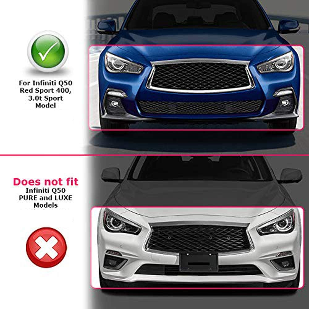 MCARCAR KIT Front Fog Light Cover fits Infiniti Q50 Sport Sedan 2018-2019 Factory Outlet Carbon Fiber CF Lamp Bezel Bumper Canard Fender Vent Scoop Air Intake Grill Winglets Splitter Trims