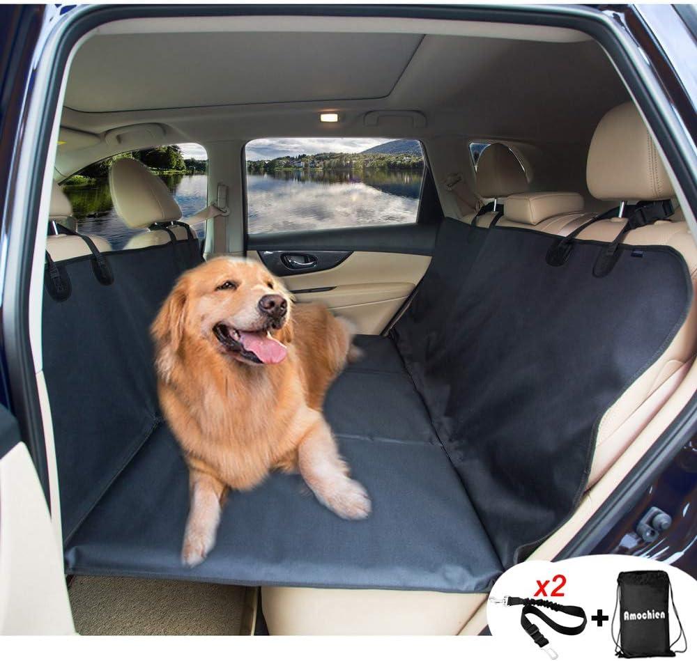 AMOCHIEN Backseat Extender for Dogs - Back Seat Pet Bridge, Dog Hammock Covers Entire Back Seat, Rear Pet Foam Platform Divider Barrier Water Resistant | Up to 100 lbs | Universal Fit Black