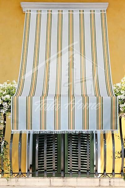 Tenda da Sole con Kit Ganci e Anelli in Tessuto Multirighe Resistente da Esterno o Balcone Misura cm 140x250 Dis.7 Colore Bordeaux