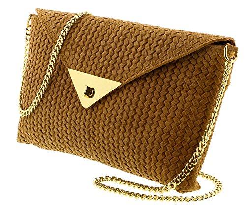 HS1181 CU TIA Tan Leather Clutch/Shoulder Bag for (Tia Clutch)