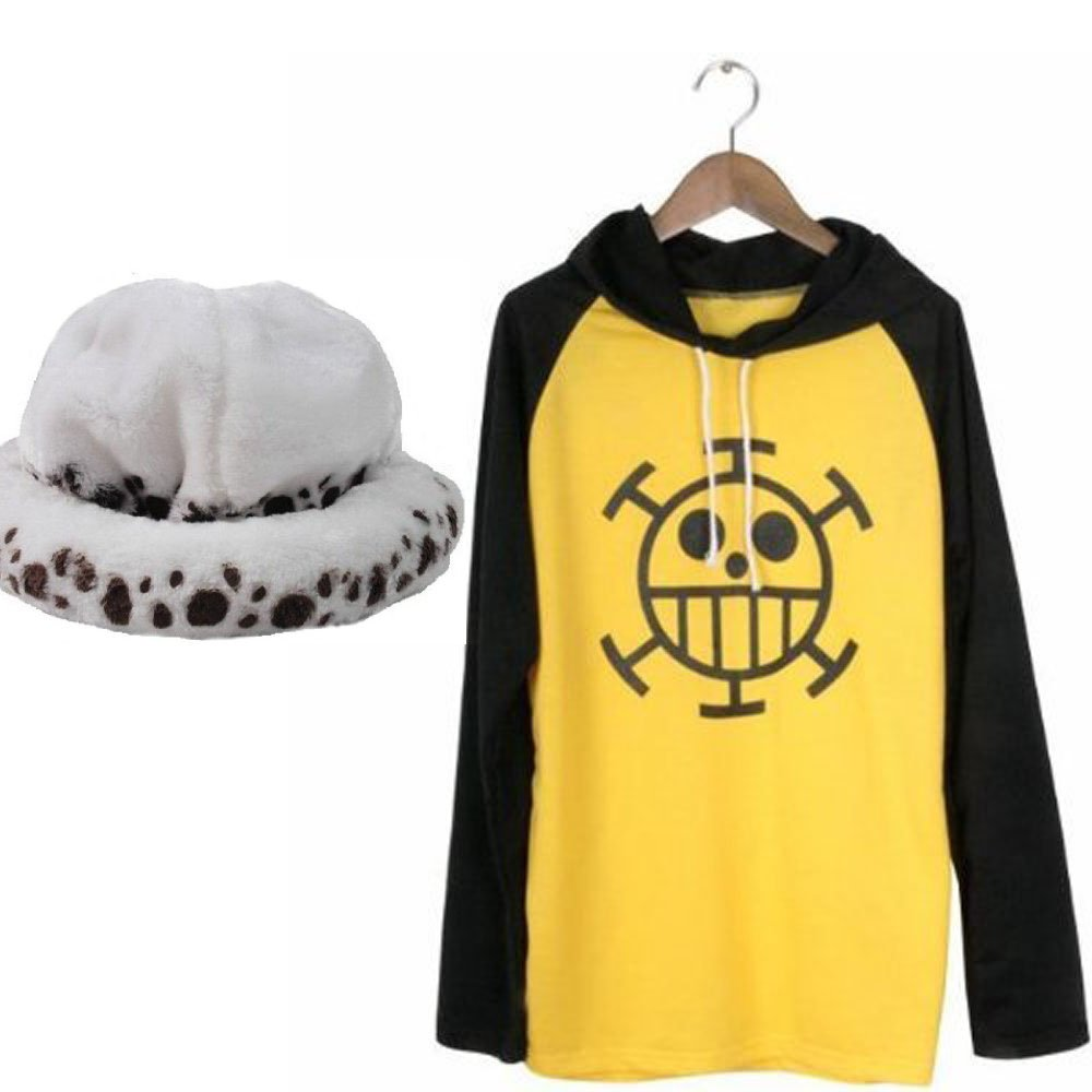 Sunkee One piece Trafalgar Law cosplay costume +Trafalgar Law Hat ,size L (Fit for height 5'35'6, weight 110120 pounds)