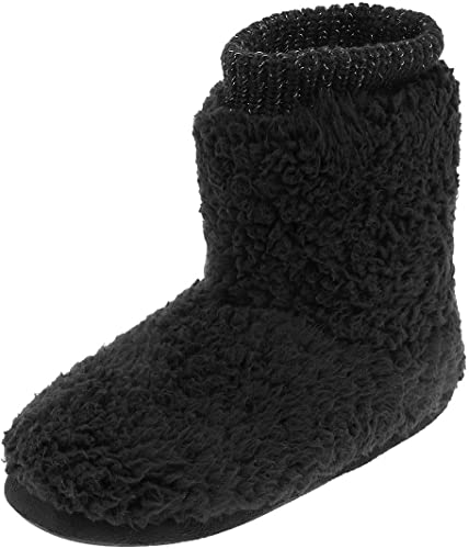 Women Black Slippers Winter Warm Fur Luxury Ankle Boots Bootie Shoes Size 5-11