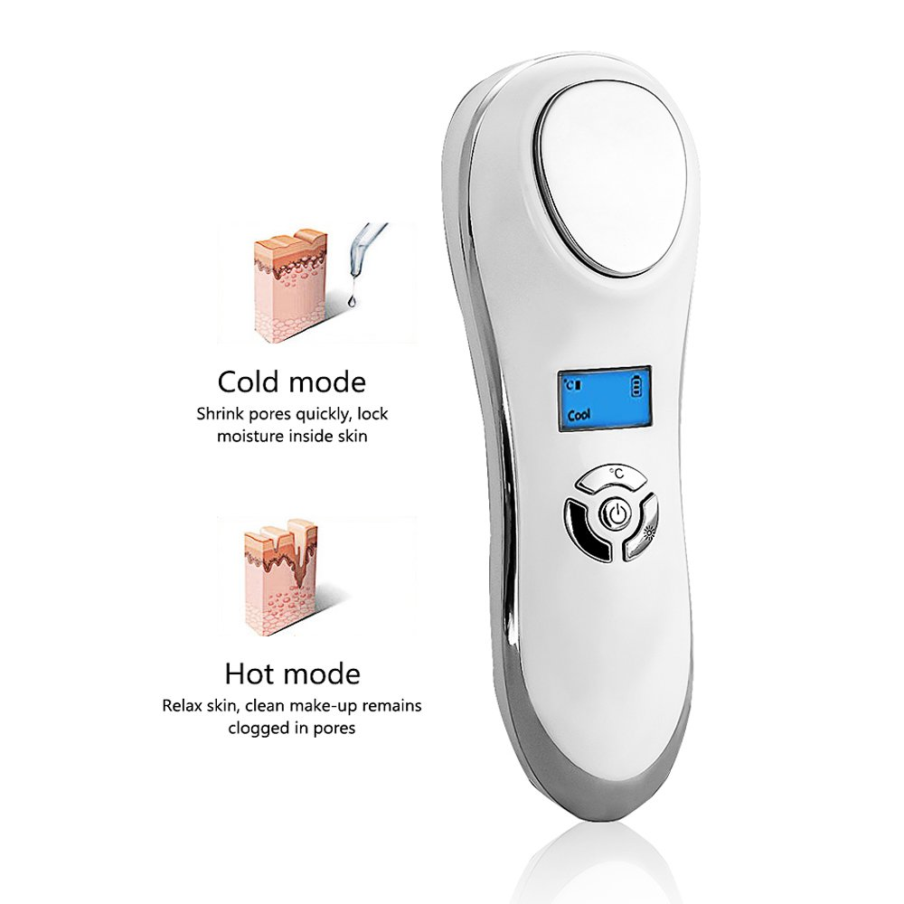 Hot and Cool facial Massager Eye Massager, Portable Handheld Sonic Electric Rechargeable Ion Facial Massager Hot Cold Machine Skin Care Device for Anti-wrinkle Tightening by MYSWEETY