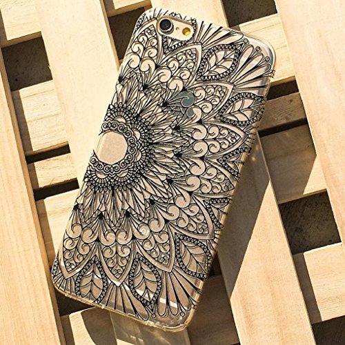 iPhone 6S Plus Case, Sandistore Henna Black Floral Flower Plastic Case Cover Skin for iPhone 6S Plus