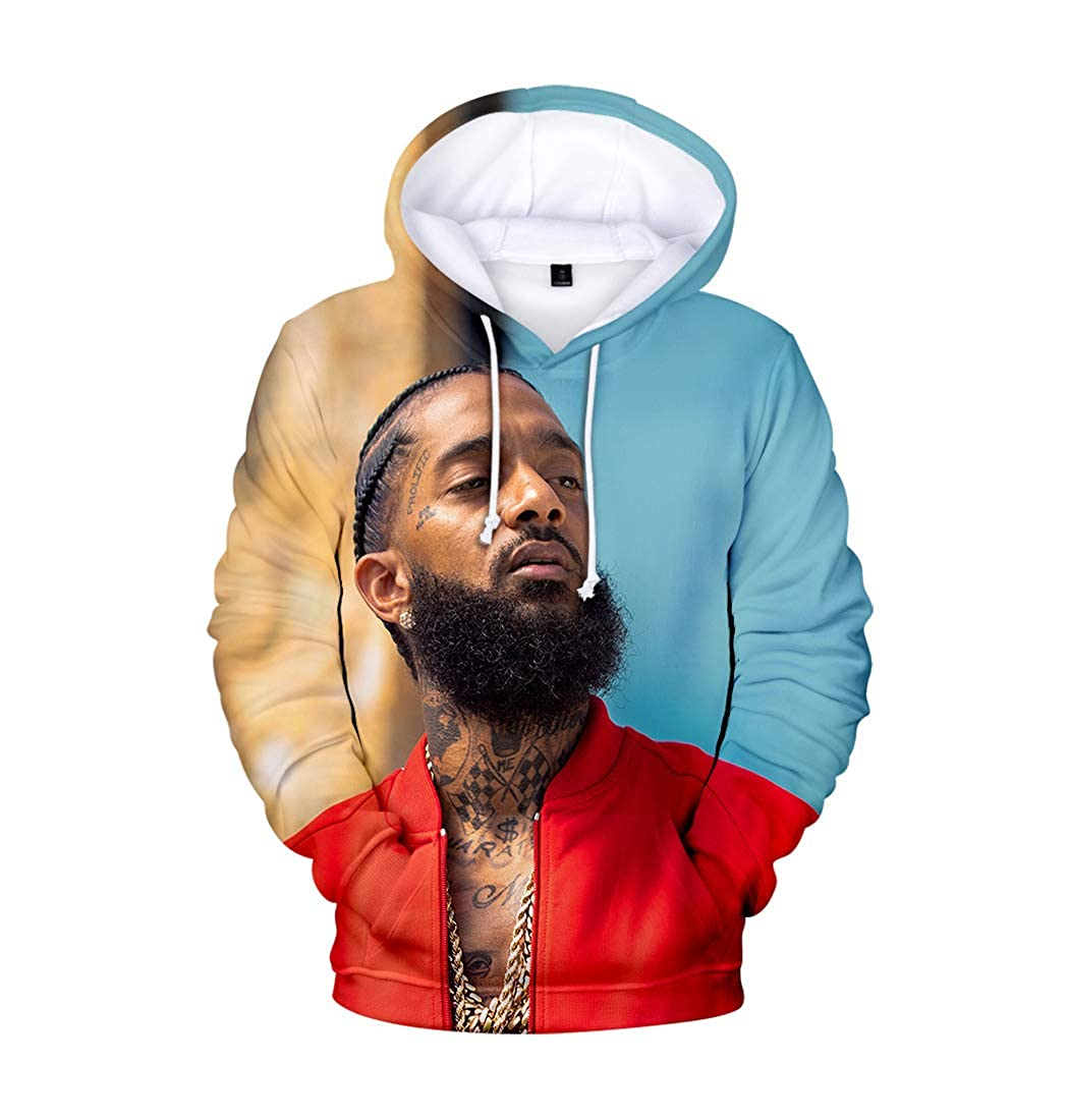 Xsayjia Sweat-Shirt Sweat /à Capuche Hip Hop Rappeur R.I.P Nipsey Hussle Fans 3D Pull Hoodie Sweatshirt Tops Pullove