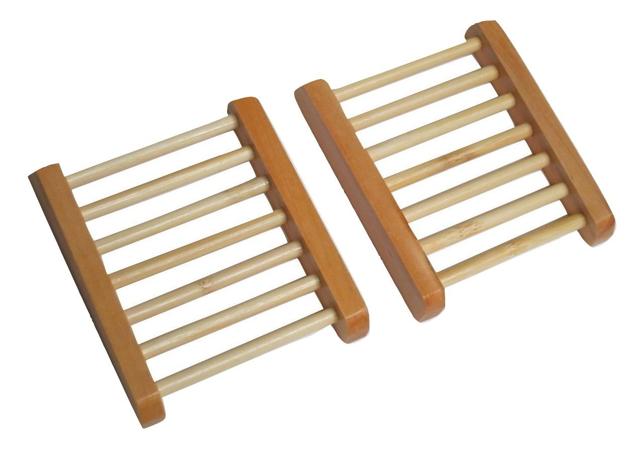 Pack of 2 TrendyLuz Natural Wood Soap Tray Wooden Holder Dish for Shower and Bathroom