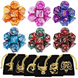 Polyhedral Dice, 42 Pieces Table Games Dice with Gold Patten Bags for Dragons and Dungeons MTG RPG DND D20 D12 D10 D8 D4