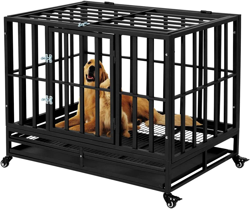 Esright Heavy Duty Dog Crate Strong Metal Kennel, for Large Dogs, 4 Wheels Pet Playpen Indoor & Outdoor, Removable Tray & Lock