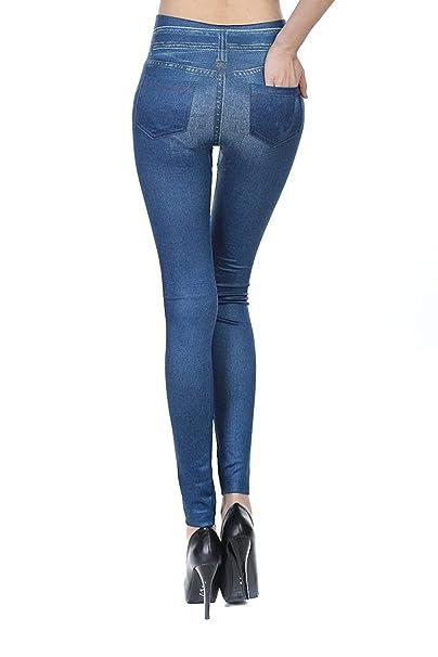 Leggins Jeggings Vaqueros Pantalones Elásticos Para Mujer Con Bolsillos: Amazon.es: Ropa y accesorios