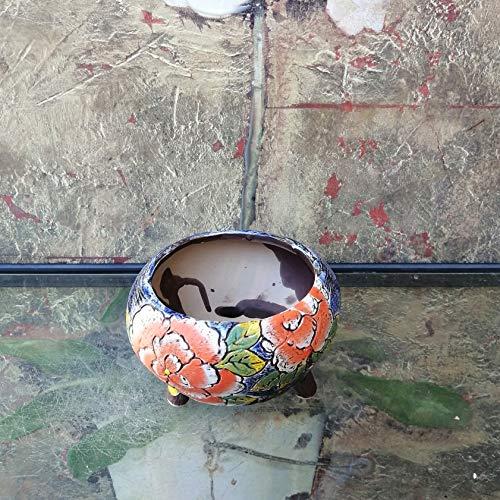 Hand Carved & Painted Ceramic Plant Pot with Drainage   Flower Vase Home Decor   Succulent Cactus Herb Planter 3