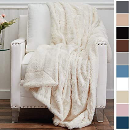 Amazoncom The Connecticut Home Company Luxury Faux Fur With Sherpa