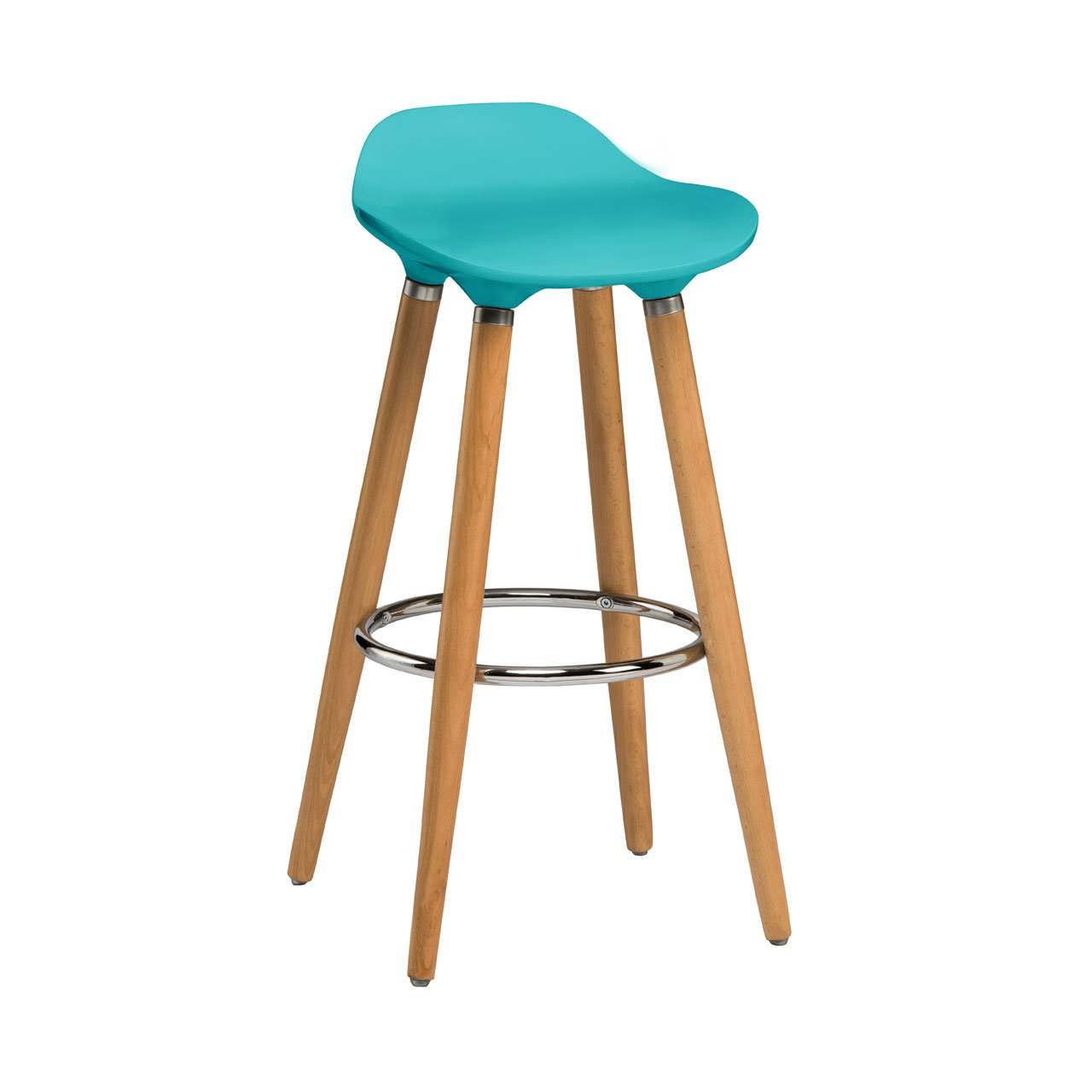 Bar Stool ABS Beech Wood Legs With Different Colour Seat Comfort Stools Aqua Blue Amazoncouk Kitchen Home