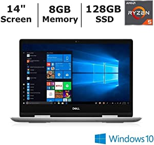 "Dell Inspiron 14 2-in-1 laptop i5485-A704SLV-PUS 14"" FHD Touch w/ Windows Ink Ryzen 5 3500u 8GB RAM 128GB SSD Backlit Fingerprint Windows 10 (Renewed)"