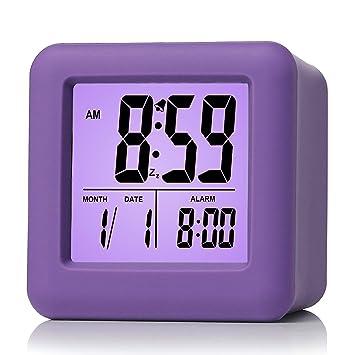 Reloj despertador Plumeet digital con snooze, luz de noche suave, pantalla grande con hora