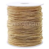 CleverDelights Curb Chain Spool - 2.2x3mm Link - Champagne Gold Color - 330 Feet - Bulk Jewelry Roll