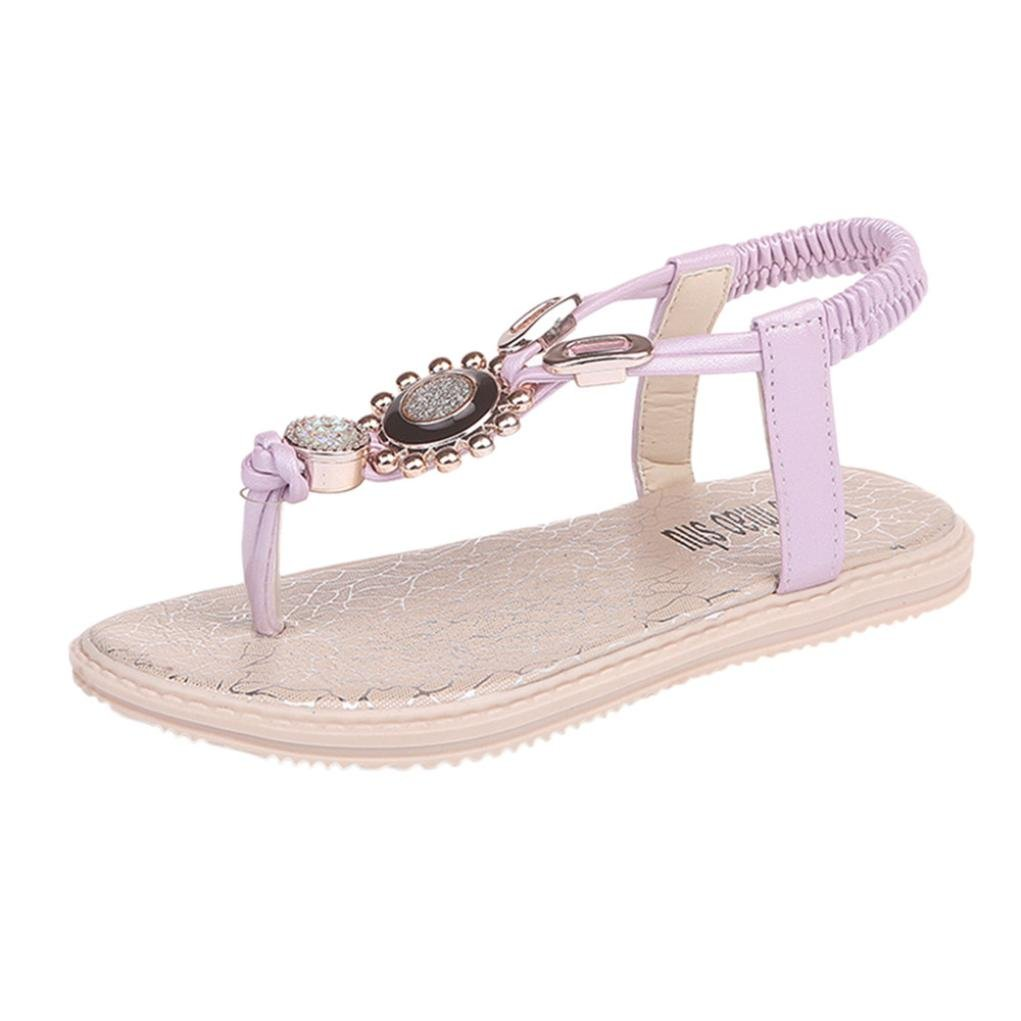 Sunfei Girls Big Kid Flat Rhinestone Thong Slingback Sandals (Purple, Age:7-7.5T) by ®Sunfei