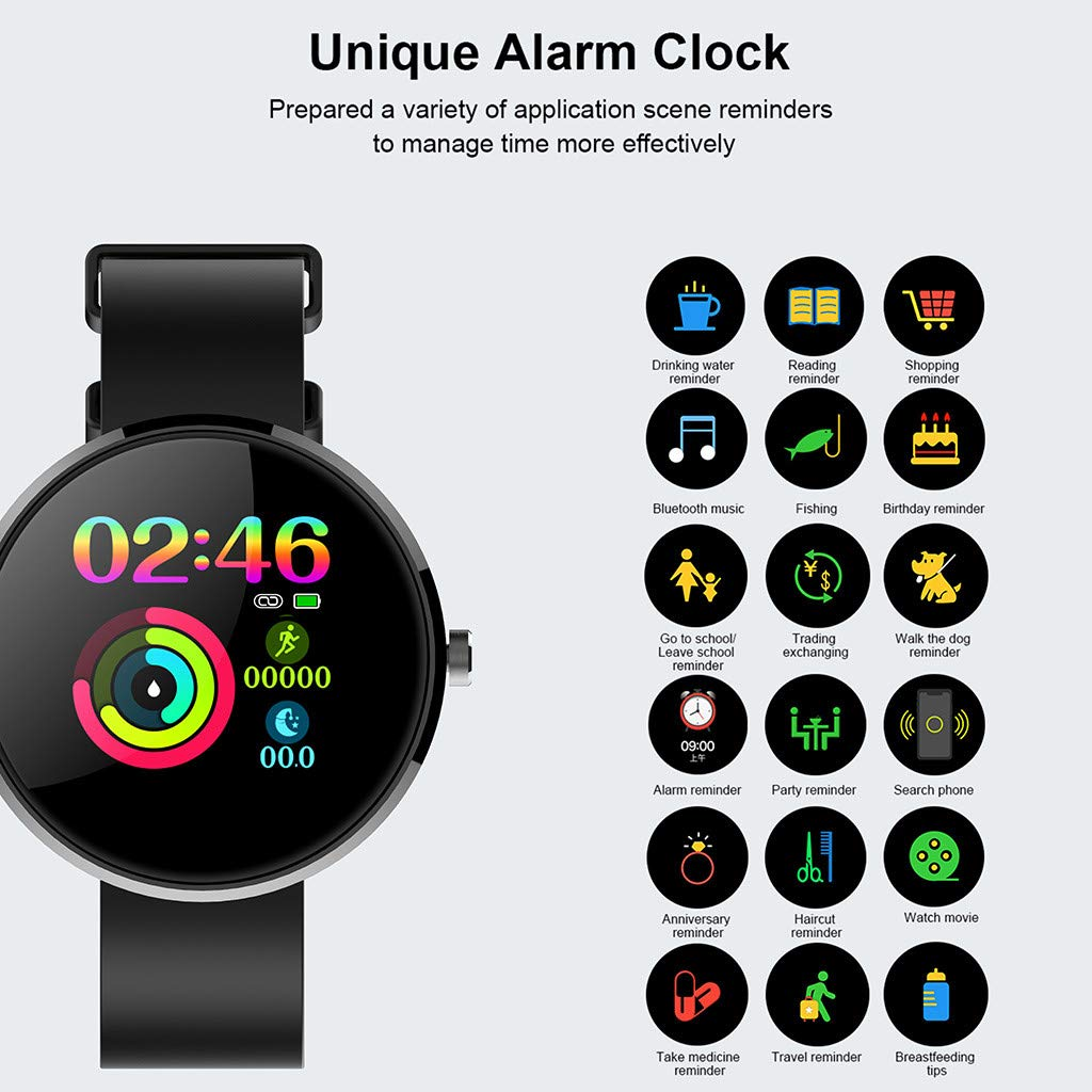 YNAA for Android iOS, Sport Smart Watch, Fitness Calorie Heart Rate Monitoring Physiological Cycle Reminder Smart Bracelet (D) by YNAA (Image #6)