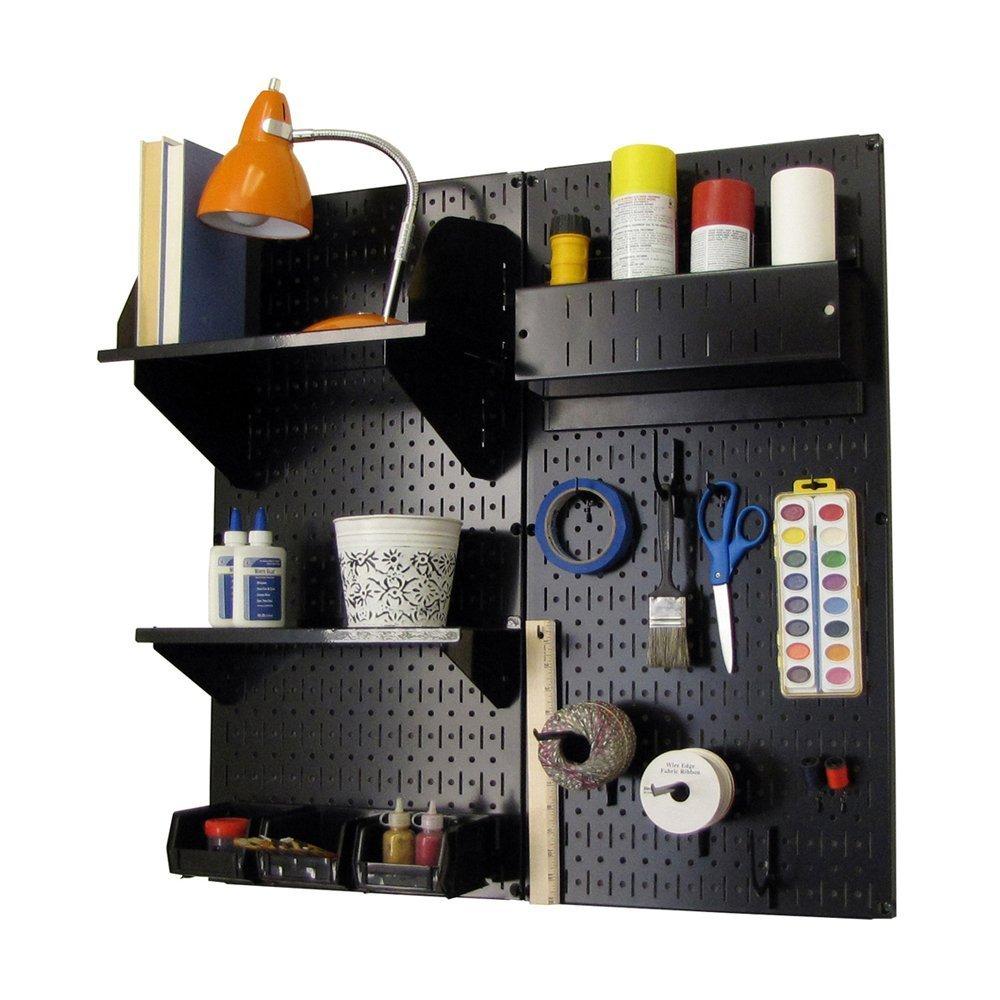 Wall Control Hobby Craft Pegboard Organizer Storage Kit, Black