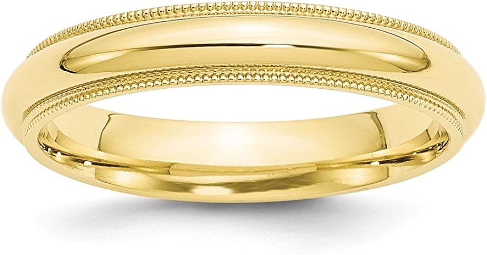 Top 10 Jewelry Gift 10KY 4mm Milgrain Comfort Fit Band Size 13