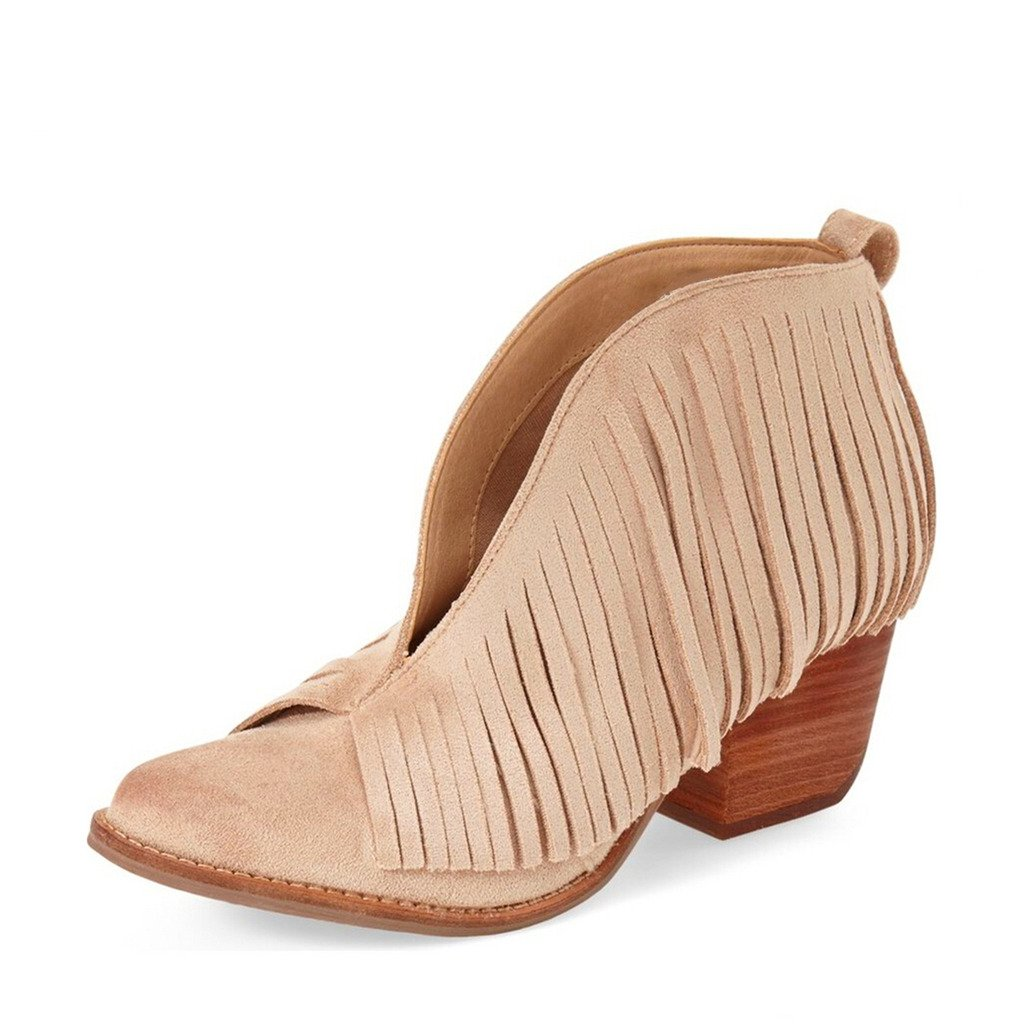 YDN Western Ankle High Boots with Tassels Round Toe Block Heel Suede Retro Booties B01KC29NRG 11 B(M) US|Beige