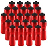 50 Strong Sports Squeeze Water Bottle with One-Way Valve - Bulk Pack of 24 Water Bottles - Leak Proof - 28 Ounces - Made in USA - Perfect for Teams, Company Events, Party Favors (Red) (Color: Red)
