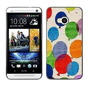 TECHCASE**Cubierta de la caja de protección la piel dura para el ** HTC One M7 ** Balloons Colorful Painting Art Fly Blue Red