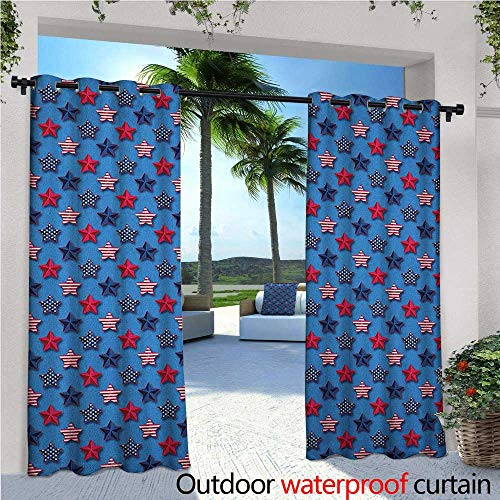 familytaste 4th of July Exterior/Outside Curtains Stars with American Flag Pattern Stripes with Halftone Shadows for Patio Light Block Heat Out Water Proof Drape W108 x L84 Magenta Indigo Azure Blue