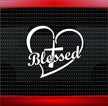 Cross heart 5 blessed christian car sticker truck window vinyl decal color white