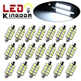 "LEDKINGDOMUS 20x 1.66"" 42mm 8-SMD Festoon 6000K White LED Interior Map Dome Lights Bulbs 211-2 578"