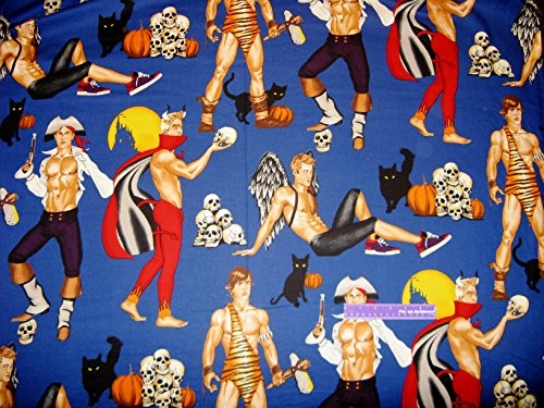 [Halloween Hunks Men Devil Angel Pirate ++ Large Scale Cotton Fabric By The Yard] (The Flintstones Halloween)