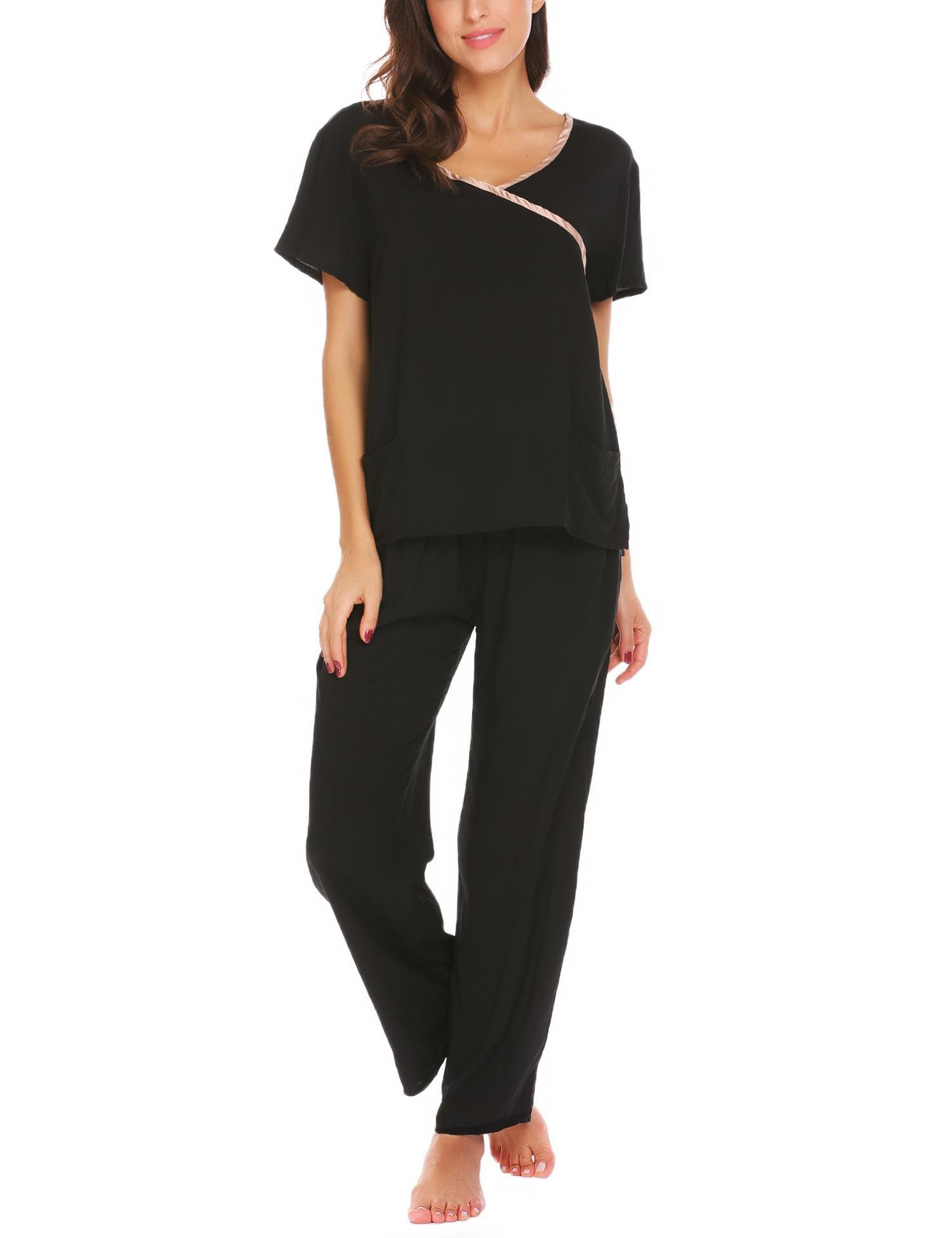 Aimado Women's Maternity Nightgowns Comfy Sleepwear Long Sleeve Pajama (Black, Meidum)