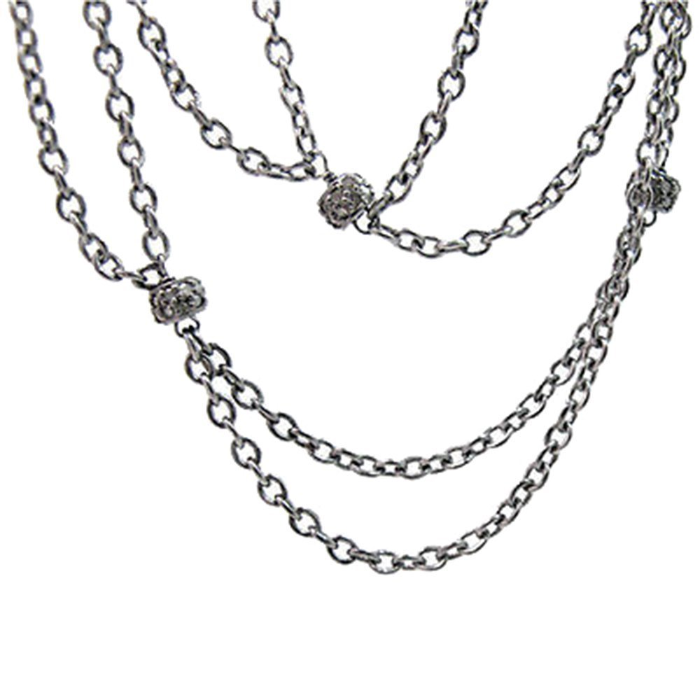 92.5 sterling silver chain necklace pave diamond 4 mm beads designer wedding jewelry necklace
