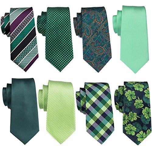 Green Ties Set Solid Silk Stripe Wedding Business Necktie Woven Casual Party