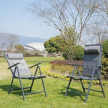 PatioPost Folding Chairs Adjustable Outdoor Recliner Patio 2 Persons Textilene Poolside Garden Lounge Chairs Grey & Amazon.com: PatioPost Folding Chairs Adjustable Outdoor Recliner ...